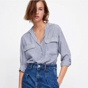 ZARA Woman Blue/White Stripe Oversized Button Down